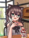 1girl :3 absurdres animal_ears artist_name bangs black_bow black_choker blurry blurry_background blush bow brown_hair cat_ears choker cowlick eyebrows_visible_through_hair glasses green_eyes hands_together head_tilt highres hololive kemonomimi_mode looking_at_viewer muramasa_dash natsuiro_matsuri open_mouth parfait pink_nails sitting smile solo twintails virtual_youtuber