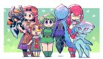6+girls absurdres belt blue_eyes blue_skin colored_sclera colored_skin dress fi green_hair green_shirt green_shorts highres kokiri looking_at_viewer malon medli midna mipha multiple_girls orange_hair princess_ruto rariatto_(ganguri) red_eyes red_skin rito saria shirt shorts the_legend_of_zelda the_legend_of_zelda:_breath_of_the_wild the_legend_of_zelda:_ocarina_of_time the_legend_of_zelda:_the_wind_waker the_legend_of_zelda:_twilight_princess triforce white_shirt yellow_eyes yellow_sclera zora