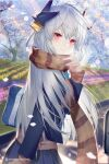 1girl bangs blue_jacket blue_skirt blush breasts contemporary dmith fate/grand_order fate_(series) hair_ornament horns jacket kiyohime_(fate) large_breasts long_hair long_sleeves looking_at_viewer looking_back multiple_horns petals red_eyes scarf school_uniform silver_hair skirt smile tree