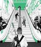4boys english_text escalator facing_another facing_away full_body fushiguro_megumi gakuran greyscale high_collar holding holding_sword holding_weapon itadori_yuuji jacket japanese_clothes jujutsu_kaisen katana line_line long_sleeves monochrome monster multiple_boys okkotsu_yuuta pants reaching scabbard school_uniform sheath shoes short_hair spiky_hair standing sword unsheathing upper_body weapon weapon_bag zenin_naoya