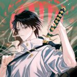 1boy bangs black_eyes black_hair closed_mouth hair_between_eyes high_collar highres holding jacket jujutsu_kaisen katana looking_away looking_down male_focus mayer okkotsu_yuuta school_uniform sheath shirt short_hair sleeves_rolled_up solo sword unsheathing upper_body weapon weapon_bag weapon_on_back white_shirt