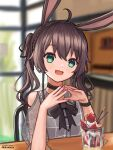 1girl :3 absurdres animal_ears artist_name bangs black_bow black_choker blurry blurry_background blush bow brown_hair choker cowlick eyebrows_visible_through_hair green_eyes hands_together head_tilt highres hololive kemonomimi_mode looking_at_viewer muramasa_dash natsuiro_matsuri open_mouth parfait pink_nails rabbit_ears sitting smile solo twintails virtual_youtuber