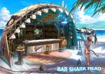 1boy 1girl absurdres alcohol animal apple arms_up bar barrel bartender beach bikini bird blue_sky bottle brown_hair carpet cat_girl cocktail_shaker commentary counter dated day english_text facial_hair fish food formal fruit fruit_basket hammerhead_shark hanging_food highres holding holding_animal holding_fish lantern long_hair menu_board mountainous_horizon mustache octopus orange original outdoors picture_(object) pineapple ponytail rope scenery seagull shade shadow shelf shell sign signature sky stool suit swimsuit tree_branch whale wine_bottle wooden_floor yellow_neckwear yuanmaru