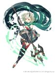 1girl :d absurdres boots breasts crystal dress elbow_gloves eyebrows_visible_through_hair full_body gloves green_dress green_hair hair_ornament hairclip highres holding holding_spear holding_weapon horns ji_no little_match_girl_(sinoalice) looking_at_viewer official_art open_mouth polearm red_eyes scarf short_hair single_horn sinoalice small_breasts smile solo spear square_enix thigh-highs thigh_boots weapon white_background