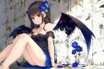 1girl :o absurdres against_wall bangs bare_legs bare_shoulders black_dress black_hair blue_flower blue_nails blue_skirt blush breasts commentary_request demon_girl demon_tail demon_wings detached_sleeves dress earrings eyebrows_visible_through_hair feet_out_of_frame fingernails flower hair_flower hair_ornament hand_on_own_leg head_wings highres jewelry knees_up long_hair looking_at_viewer medium_breasts miniskirt na_kyo nail_polish original red_eyes short_sleeves sitting skirt sleeveless sleeveless_dress solo strapless strapless_dress tail very_long_hair white_flower wings