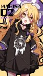 1girl alternate_costume black_choker black_hoodie blonde_hair blush bow braid chain character_name choker commentary contemporary cowboy_shot earrings fishnet_legwear fishnets hair_bow hat heart highres hood hoodie jewelry kirisame_marisa kyouda_suzuka long_hair long_sleeves looking_at_viewer mini-hakkero open_mouth piercing purple_bow purple_headwear single_braid solo star-shaped_pupils star_(symbol) striped striped_bow symbol-shaped_pupils touhou twitter_username upper_teeth witch_hat yellow_background yellow_eyes yin_yang yin_yang_print