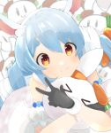 1girl animal_ear_fluff animal_ears bangs bare_shoulders black_gloves blue_hair blush braid bunny-shaped_pupils carrot_hair_ornament closed_mouth creature detached_sleeves ebichoco_pasta food_themed_hair_ornament fur-trimmed_gloves fur_trim gloves hair_ornament highres hikimayu hololive hug long_hair looking_at_viewer multicolored_hair nousagi_(usada_pekora) orange_eyes puffy_short_sleeves puffy_sleeves rabbit rabbit_ears rabbit_girl short_eyebrows short_sleeves smile solo swept_bangs twin_braids twintails two-tone_hair usada_pekora v virtual_youtuber white_hair white_sleeves