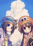 0g0nn 2girls april_(guilty_gear) blue_eyes blue_sky brown_eyes clouds cloudy_sky guilty_gear hat highres looking_at_viewer may_(guilty_gear) multiple_girls orange_headwear sailor_hat sky smile