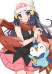 1girl alisky beanie black_hair blush commentary_request dawn_(pokemon) eyelashes floating_hair floating_scarf gen_4_pokemon hat highres holding holding_poke_ball long_hair looking_at_viewer piplup poke_ball poke_ball_(basic) pokemon pokemon_(creature) pokemon_(game) pokemon_dppt red_scarf scarf simple_background starter_pokemon white_background white_headwear wristband