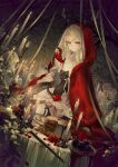1girl absurdres animare antlers black_cat cake candle cat flower food gloves glowing grey_eyes hand_up highres leaf parted_lips red_flower red_gloves sitting skull solo tirol_tsukinoki virtual_youtuber yoggi_(stretchmen)