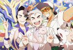 3boys augustine_sycamore blush brown_hair clenched_teeth closed_eyes clouds commentary_request confetti day double_v facial_hair gen_1_pokemon gen_6_pokemon gen_7_pokemon grey_hair hair_bun hand_up kukui_(pokemon) kusuribe labcoat legendary_pokemon long_sleeves lycanroc lycanroc_(midday) male_focus mew multiple_boys mythical_pokemon one_eye_closed open_mouth outdoors parted_lips pokemon pokemon_(creature) pokemon_(game) pokemon_frlg pokemon_sm pokemon_xy purple_shirt samuel_oak shirt sky smile sunglasses teeth tongue v w xerneas