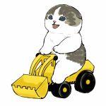 bulldozer cat construction driving fangs happy highres kitten mofu_sand original paws riding smile wheel white_background