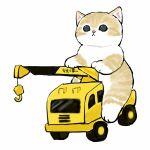 :< cat construction crane_(machine) driving ground_vehicle highres hook kitten mofu_sand motor_vehicle original paws riding truck white_background