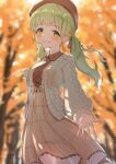 1girl absurdres autumn_leaves bag bangs beret blurry blurry_background blush breasts brown_headwear brown_jacket brown_skirt collared_shirt depth_of_field eyebrows_visible_through_hair green_eyes green_hair grin hat highres holding_strap jacket long_hair long_sleeves looking_at_viewer low_twintails medium_breasts morinaka_kazaki nijisanji open_clothes open_jacket pleated_skirt puffy_long_sleeves puffy_sleeves shirt shoulder_bag skirt smile solo tree twintails virtual_youtuber white_shirt yotsugi