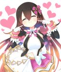 1girl android bangs blush bow breasts brown_hair commentary_request dress gloves gradient_hair hair_between_eyes hair_bow hololive idol long_hair mechanical_arms mixed-language_commentary multicolored_hair no_eyewear official_alternate_costume roboco-san simple_background smile solo virtual_youtuber zukaketawagase