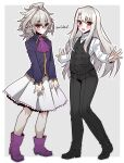1boy 1girl braid cosplay fate/stay_night fate_(series) haoro highres illyasviel_von_einzbern illyasviel_von_einzbern_(cosplay) long_braid long_pants looking_at_viewer otoko_no_ko pants red_eyes sieg_(fate) sieg_(fate)_(cosplay) silver_hair single_braid waistcoat