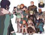 3girls 6+boys anachronism annette_fantine_dominic ashe_ubert blonde_hair blue_hair boots byleth_(fire_emblem) byleth_(fire_emblem)_(male) closed_eyes dark_skin dark_skinned_male dedue_molinaro dimitri_alexandre_blaiddyd double_v eyepatch felix_hugo_fraldarius fire_emblem fire_emblem:_three_houses full_body gilbert_pronislav grey_hair group_picture hand_on_another's_head hat highres ingrid_brandl_galatea kusodekablack meme mercedes_von_martritz multiple_boys multiple_girls orange_hair rodrigue_achille_fraldarius self_shot short_hair simple_background smile squatting standing sylvain_jose_gautier tablet_pc v white_background
