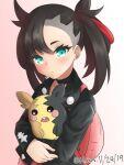 1girl black_gloves blush dated earrings gen_8_pokemon gloves gradient gradient_background green_eyes hair_horns highres holding holding_pokemon jewelry klaius long_sleeves looking_at_viewer marnie_(pokemon) morpeko morpeko_(full) parted_lips pink_background pokemon pokemon_(creature) pokemon_(game) pokemon_swsh solo twitter_username upper_body