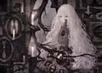 1girl bangs branch candle cowboy_shot flower glowing grey_eyes highres long_hair muted_color original ribs skeleton solo very_long_hair white_flower white_hair yoggi_(stretchmen)