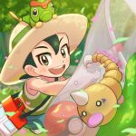 1boy :d bangs blush brown_eyes bug_catcher_(pokemon) butterfly_net caterpie commentary_request day forest gen_1_pokemon green_hair green_shirt green_shorts hair_between_eyes hand_net hat hat_ribbon holding_butterfly_net male_focus nature on_head open_mouth outdoors petals poke_ball poke_ball_(basic) pokemon pokemon_(creature) pokemon_(game) pokemon_lgpe pokemon_on_head ribbon shirt shorts smile teeth tom_(pixiv10026189) tongue tree weedle