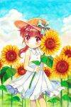 1girl aqua_bow blue_sky blush bow brown_hair clouds cloudy_sky collared_dress copyright_request dress eyebrows_visible_through_hair feet_out_of_frame flower hat hat_bow highres leaf long_hair looking_at_viewer mojacookie red_eyes signature sky sleeveless sleeveless_dress solo sunflower twintails white_dress yellow_flower