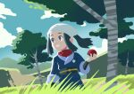 1girl absurdres black_hair clouds commentary day eyelashes female_protagonist_(pokemon_legends:_arceus) floating_hair grass grey_eyes hand_up head_scarf highres holding holding_poke_ball kiana_mai long_hair outdoors poke_ball pokemon pokemon_(game) pokemon_legends:_arceus ponytail red_scarf sash scarf sidelocks sky smile solo tree