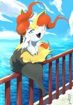 1girl :3 absurdres alternate_eye_color animal_ear_fluff animal_ears animal_nose artist_name black_fur blue_background blue_eyes blue_sky body_fur braixen clouds commentary dated day deviantart_username english_commentary eryz fan fang flat_chest folding_fan fox_ears fox_girl fox_tail full_body furry gen_6_pokemon hand_up happy highres horizon legs_together looking_at_viewer ocean on_railing open_mouth outdoors paws pokemon pokemon_(creature) railing signature sitting sky smile snout solo tail thick_thighs thighs twitter_username water watermark white_fur wind yellow_fur