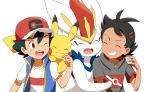 2boys ash_ketchum bangs baseball_cap blue_jacket brown_eyes cinderace closed_eyes commentary_request eyelashes gen_1_pokemon gen_8_pokemon goh_(pokemon) green_hair grin haruhi_(xy161027z) hat jacket male_focus multiple_boys one_eye_closed open_mouth pikachu pokemon pokemon_(anime) pokemon_(creature) pokemon_swsh_(anime) shirt short_hair short_sleeves simple_background sleeveless sleeveless_jacket smile t-shirt teeth tongue white_background white_shirt