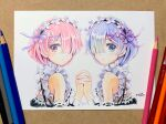 2girls black_ribbon blue_eyes blue_hair colored_pencil_(medium) frills hair_ornament hair_over_one_eye hairclip highres holding_hands maid mojacookie multiple_girls photo_(medium) pink_eyes pink_hair ram_(re:zero) re:zero_kara_hajimeru_isekai_seikatsu rem_(re:zero) ribbon ribbon-trimmed_clothes ribbon_trim roswaal_mansion_maid_uniform short_hair siblings simple_background sisters traditional_media twins twitter_username white_background x_hair_ornament
