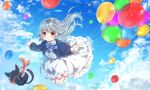 1girl balloon black_cat blue_bow blue_sky bow cat clouds clover_hair_ornament day dress full_body grey_hair hair_ornament highres long_hair long_sleeves michiru_donut midair original outdoors pink_eyes sky solo white_dress