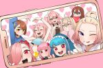 6+girls :d ahoge animal_hood arm_up bangs blonde_hair blue_eyes blue_flower blue_hair blunt_bangs blush bow box bracelet brown_eyes brown_hair candy character_request copyright_request english_commentary eyebrows_visible_through_hair flower food grin hair_between_eyes hair_bow hair_flower hair_ornament hair_over_one_eye heart heart-shaped_box heart_background heart_hands highres holding holding_box hood jewelry lollipop long_hair looking_at_viewer multiple_girls one_eye_closed open_mouth phone photo_(object) pink_background pink_hair red_eyes shark_hood short_hair smile tongue tongue_out upper_teeth v white_bow yeun