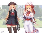 2girls blonde_hair breasts dark_persona doujinshi dress fairy hair_ribbon hat large_breasts lily_black lily_white miniskirt multiple_girls pointy_ears red_eyes ribbon scarf skirt thigh-highs touhou z.o.b
