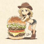 1girl aqua_eyes belt blonde_hair blue_shorts boots brown_footwear cheese food hamburger highres leaning_forward lettuce long_hair looking_at_viewer midriff mojacookie navel original oversized_food shadow shorts signature simple_background solo standing tan_background wide_shot