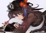 1girl absurdres brown_hair brown_shirt chinese_clothes eyebrows_visible_through_hair flower genshin_impact hat hat_flower highres hu_tao koba_(jdhikdjdkfiwufh) long_sleeves looking_at_viewer lying multiple_rings nail_polish on_stomach parted_lips red_eyes shirt simple_background smile solo white_background