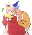 +++ 1girl ;d animal_ear_fluff animal_ears bangs blue_ribbon blush brown_eyes commentary_request eyebrows_visible_through_hair fan fate/extra fate_(series) folding_fan fox_ears fox_girl fox_tail hair_between_eyes hair_ribbon hakama haryuu_(poetto) highres holding holding_fan japanese_clothes kimono long_hair long_sleeves looking_at_viewer one_eye_closed open_clothes open_mouth outstretched_arm pink_hair pink_hakama ponytail ribbon simple_background smile solo tail tamamo_(fate)_(all) tamamo_no_mae_(fate) white_background white_kimono wide_sleeves