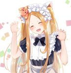 1girl :d abigail_williams_(fate) animal_ears apron arm_up bangs black_bow black_dress blonde_hair blush bow bowtie cat_ears claw_pose closed_eyes collar commentary_request dress fake_animal_ears fate/grand_order fate_(series) fingernails frilled_collar frills gao_kawa hair_bow hand_up long_hair maid_headdress multiple_hair_bows nail_polish object_on_head open_mouth parted_bangs pink_nails puffy_short_sleeves puffy_sleeves short_sleeves smile solo stuffed_animal stuffed_toy teddy_bear twintails very_long_hair waist_apron white_bow white_collar