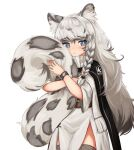 1girl absurdres animal_ears animal_print arknights belt black_cape blue_eyes blush braid bright_pupils brown_belt cape closed_mouth commentary cowboy_shot dot_nose dress english_commentary grey_hair highres klaius leopard_ears leopard_print leopard_tail long_hair long_tail looking_at_viewer pramanix_(arknights) side_braid simple_background solo standing tail tail_hug thigh-highs white_background white_dress white_pupils wristband
