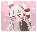 1girl amatsukaze_(kancolle) brown_dress commentary_request dress gloves grey_neckwear grey_sailor_collar hair_tubes hat heart heart-shaped_pupils kantai_collection lifebuoy_ornament long_hair looking_down mini_hat neckerchief pink_background sailor_collar sailor_dress silver_hair smokestack_hair_ornament solo steam symbol-shaped_pupils two_side_up upper_body white_gloves windsock yoru_nai