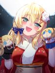 1girl akai_haato aqua_eyes blonde_hair blue_ribbon blush breasts character_doll hair_ribbon hand_puppet head_tilt heart heart-shaped_pupils highres hololive japanese_clothes kimono large_breasts long_hair magowasabi open_mouth puppet red_kimono ribbon smile solo symbol-shaped_pupils virtual_youtuber