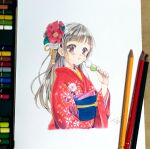 1girl absurdres bangs brown_hair colored_pencil_(medium) dango dated eating eyebrows_visible_through_hair floral_print flower food hair_flower hair_ornament highres japanese_clothes kimono leaf long_hair looking_at_viewer mojacookie original photo_(medium) print_kimono red_eyes red_flower red_kimono signature simple_background solo traditional_media wagashi white_background white_flower