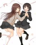 2girls :d amagami black_hair black_jacket black_legwear black_neckwear black_skirt blazer bow bowtie brown_eyes brown_footwear brown_hair brown_sweater commentary face-to-face hair_strand highres holding_hands interlocked_fingers jacket kakki28469387 kamizaki_risa kibito_high_school_uniform kneehighs leg_up loafers long_hair looking_at_viewer looking_back multiple_girls open_mouth parted_lips pink_bow pink_ribbon pleated_skirt raised_eyebrows ribbon school_uniform shoes short_hair skirt smile snowflakes sweater tachibana_miya upper_teeth very_long_hair white_background white_legwear