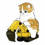 :< animal aqua_eyes blue_eyes cat constriction excavator highres kitten mofu_sand original paws vehicle_focus white_fur