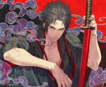 1boy bare_pecs black_hair black_kimono clouds collarbone eyeshadow fate/grand_order fate_(series) hijikata_toshizou_(fate) holding holding_sheath japanese_clothes katana kazuki_yone kimono knee_up makeup open_clothes open_kimono pectorals red_eyeshadow sheath short_hair sidelocks smile sword toned toned_male weapon