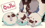 closed_eyes commentary_request dubwool gen_8_pokemon licking open_mouth pokemon pokemon_(creature) sheep simple_background smile tongue tongue_out tsuda_(tsudapm) white_background wooloo |d
