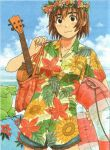 2girls adjusting_strap ayase_fuuka azuma_kiyohiko bag bangs beach blue_shirt blue_shorts bob_cut brown_eyes brown_hair clouds collarbone cowboy_shot floral_print flower green_hair hair_between_eyes hand_on_own_shoulder hawaiian_shirt head_out_of_frame head_wreath holding holding_bag holding_innertube holding_instrument innertube instrument koiwai_yotsuba leaf_print light_blush looking_at_viewer multiple_girls ocean official_art quad_tails scan shirt short_hair short_shorts short_sleeves shorts smile solo_focus thick_eyebrows thigh_gap tote_bag ukulele yellow_shirt yotsubato!