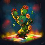 ;d absurdres beamed_eighth_notes cactus eighth_note gen_5_pokemon highres holding instrument koriarredondo maracas maractus musical_note night one_eye_closed open_mouth pokemon pokemon_(creature) pun smile