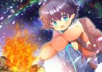 1boy :d backpack bag bangs black_hair blue_eyes blue_pants blush campfire colored_eyelashes commentary_request eyebrows_visible_through_hair fang fire hair_between_eyes indie_virtual_youtuber jacket knees_up kouu_hiyoyo long_sleeves looking_at_viewer male_focus mole mole_under_eye night night_sky open_mouth orange_jacket outdoors pants short_eyebrows sky smile solo squatting star_(sky) starry_sky tazzle thick_eyebrows virtual_youtuber