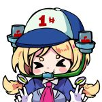 1girl absurdres aki_rosenthal apple bangs beer_can beer_hat blonde_hair bob_cut can chibi detached_hair drinking english_commentary eyebrows_visible_through_hair food fruit gloves hair_ornament highres hololive long_hair low_twintails parted_bangs short_hair solo toon_(toonhoshi) twintails virtual_youtuber