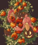 3_(qqo0g) artist_name fang gen_6_pokemon gourgeist highres holding no_humans open_mouth pokemon pokemon_(creature) pumpkaboo pumpkin smile tongue yellow_eyes