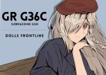 1girl beret blue_shirt braid character_name copyright_name cover english_text eyebrows_visible_through_hair g36c_(girls_frontline) girls_frontline hair_over_eyes hat highres i_rikky long_hair magazine_cover one_eye_covered platinum_blonde_hair red_eyes shirt simple_background solo_focus